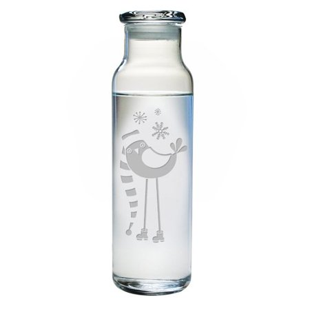 Snowbird Water (The Holiday Aisle Snowbird 24 oz. Glass Water Bottle with)