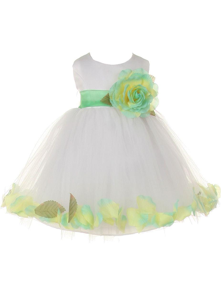 Baby Girls White Mint Petal Adorned Satin Tulle Flower Girl Dress 6-24M