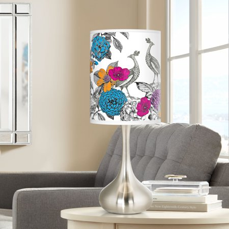 Giclee Glow Peacocks in the Garden Giclee Droplet Table Lamp