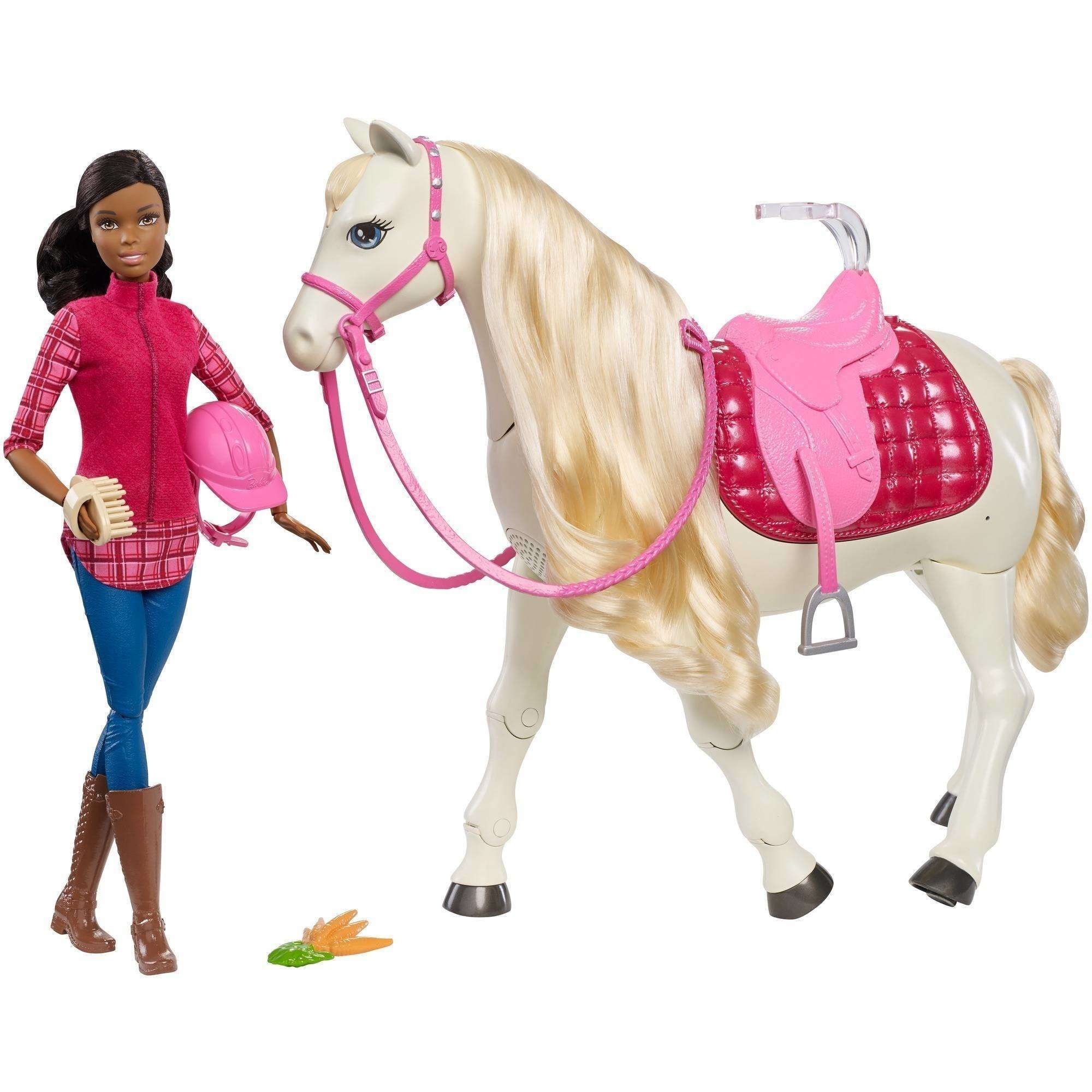 Barbie DreamHorse & Brunette Doll, Interactive Toy with 30+ Reactions
