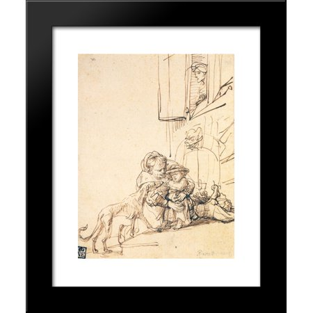 A Woman with a Child Frightened by a Dog 20x24 Framed Art Print by Rembrandt