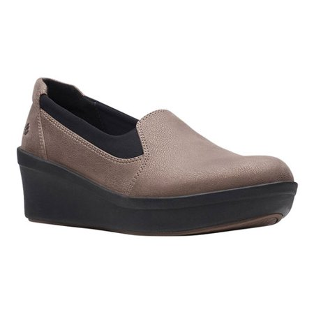 Women's Clarks Step Rose Moon Wedge Slip On Silver Platform Wedge Shoes