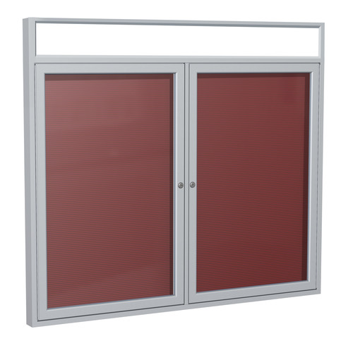 Ghent PAB5-BG 36 in. x 48 in. 2-Door Satin Alum Frame with Headliner Enclosed Burgundy Changeable Letterboard