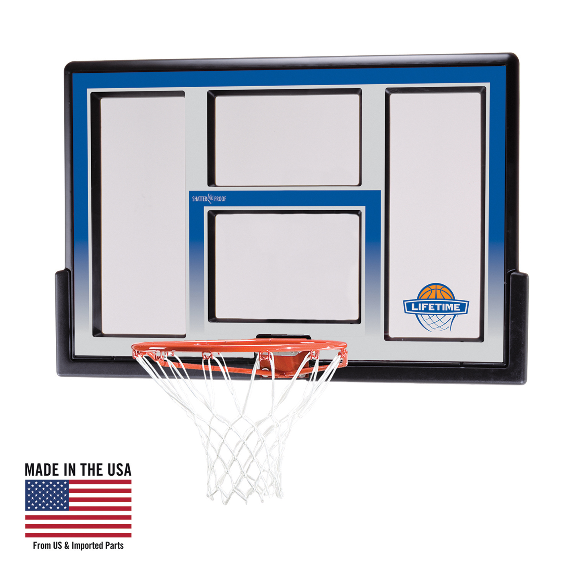 "Lifetime 48"" Shatterproof backboard and Rim Basketball Combo, 73621"