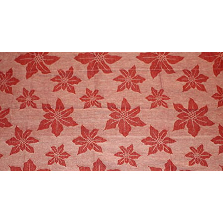 Nantucket Home Christmas Holiday Themed Jacquard Valance 100% Cotton 50-inch X 14-inch (Red Poinsettia)