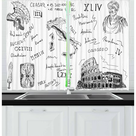 Toga Party Curtains 2 Panels Set, Ancient Roman Period Icons Caesar Colosseum Gladiator Helmet Sketch Art, Window Drapes for Living Room Bedroom, 55W X 39L Inches, Black and White, by Ambesonne