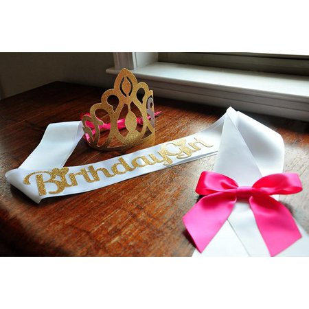 Birthday Crown and Sash Set. Ships in 1-3 Business Days. Hot Pink and Gold Birthday Party Decorations. - Birthday Sash And Crown
