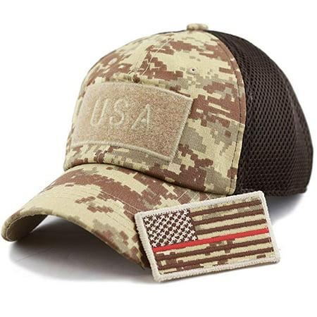 The Hatdeƿot Cotton Low Profile Tactical Operator USA Flag Patch Buckle  Mesh Cap 776e9cd302f