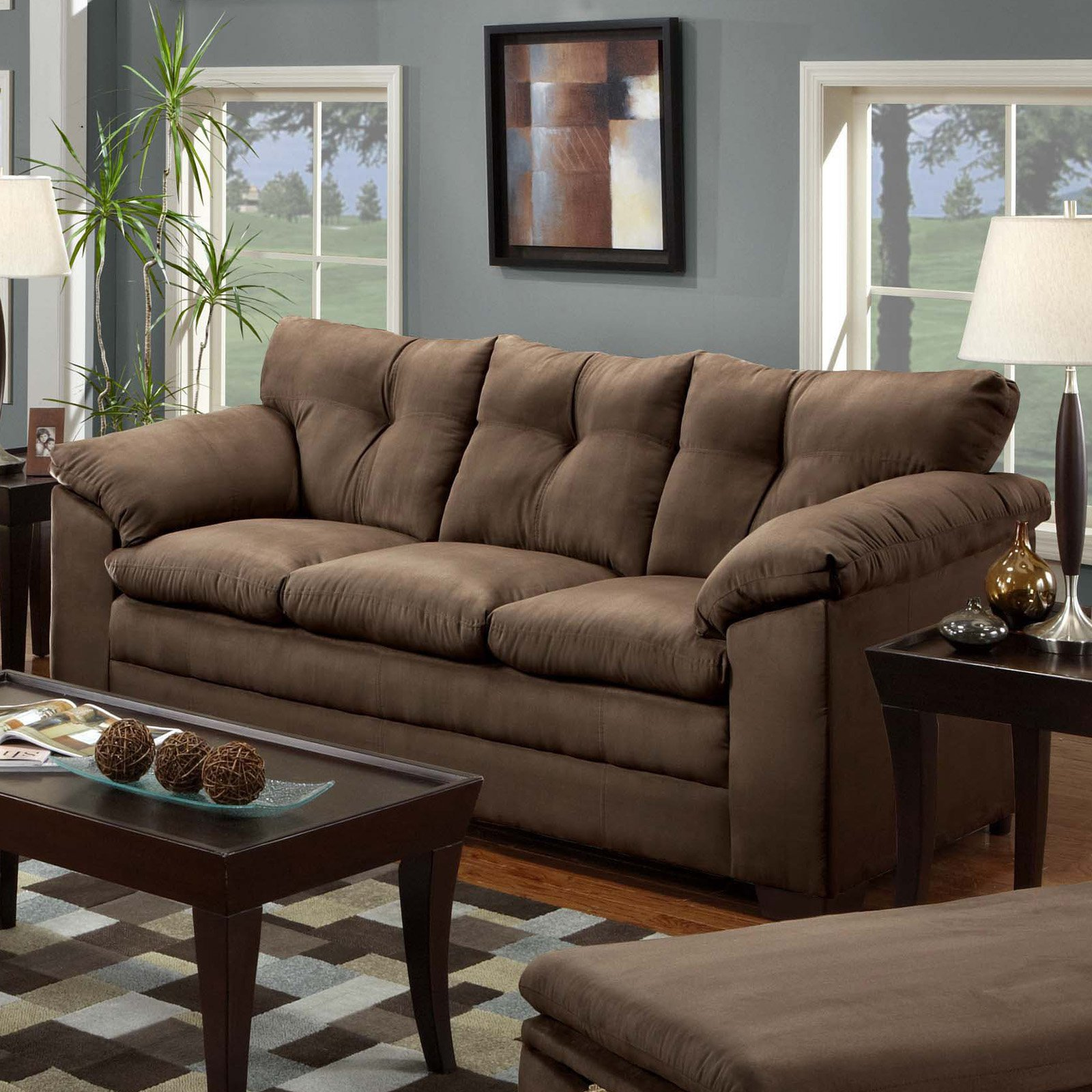 simmons harbortown sofa. simmons luna chocolate microfiber sofa harbortown