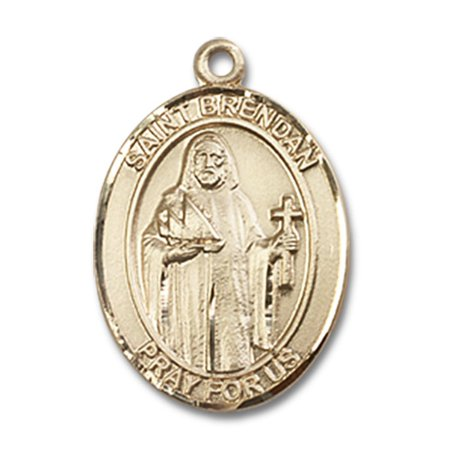 14kt Yellow Gold St. Brendan the Navigator Medal 3/4 x 1/2 inches