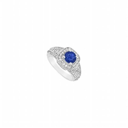 Sapphire & Diamond Engagement Ring 14K White Gold, 1.25 CT - Size 9