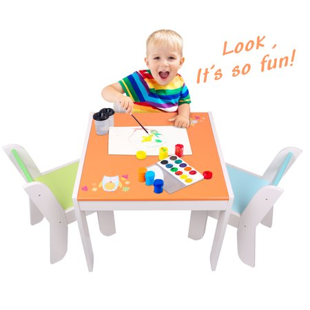 Labebe WoodenActivity Table Chair Set, Orange Owl Baby Furniture for 1-5 Years, Baby TableSet/Toddler Play Table/Baby Activity Table/Kid Table Cover/Kid TableToy/Table/Toddler Table/Kid Desk Chair](Play Tables)