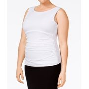 Calvin Klein NEW White Womens Size 3X Plus Ruched Scoop Neck Blouse