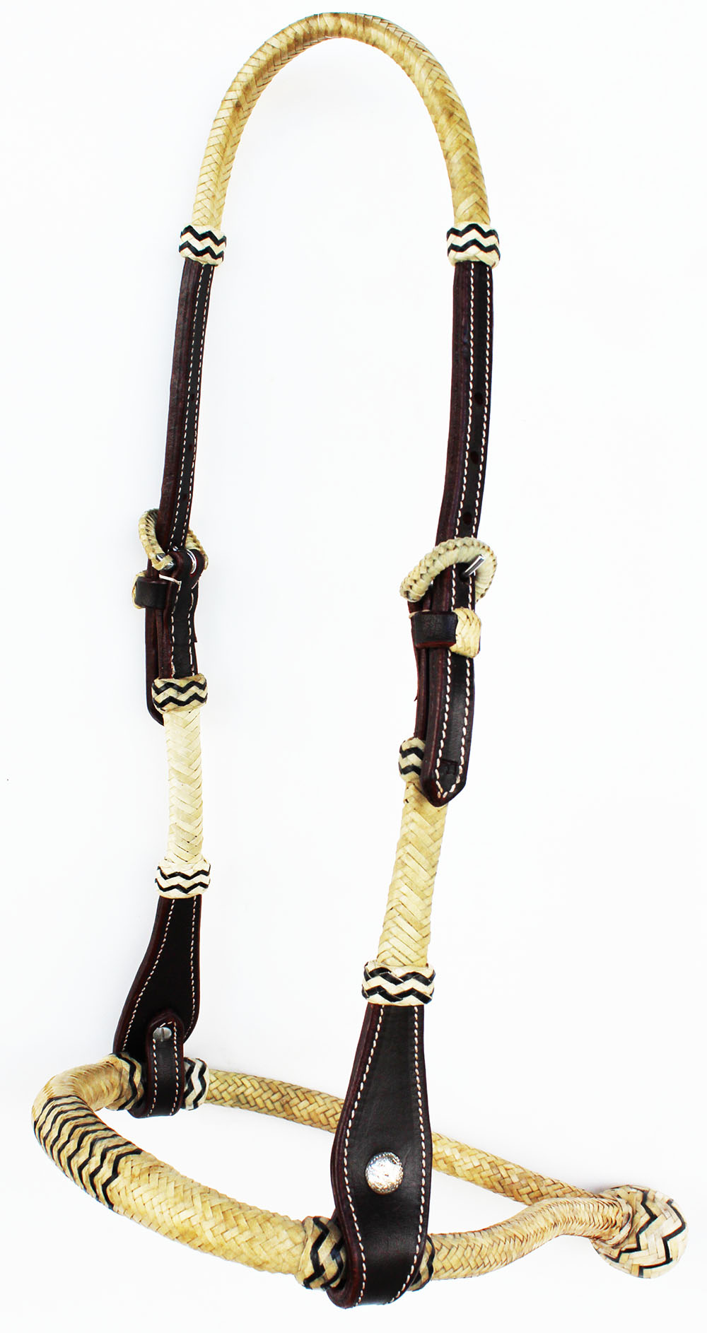 Rawhide Bosal for Miniature has Rawhide Core Natural with Black by Royal King
