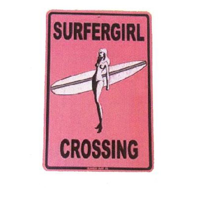 Seaweed Surf Co Aluminum Sign Surfergirl Crossing