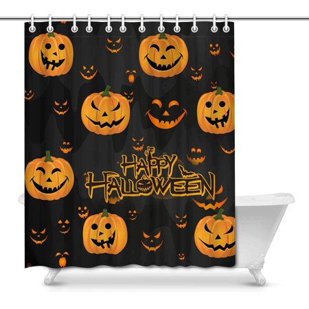 MKHERT Halloween Decor Funny Abstract Pumpkin Scary Face House Decor Shower Curtain for Bathroom Decorative Bathroom Shower Curtain Set 66x72 inch