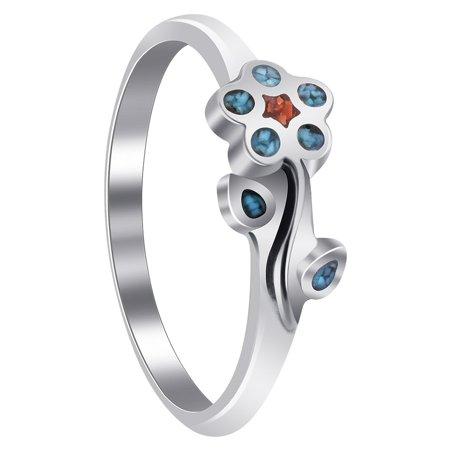 Gem Avenue Flower Shape 925 Sterling Silver Southwestern Style Ring