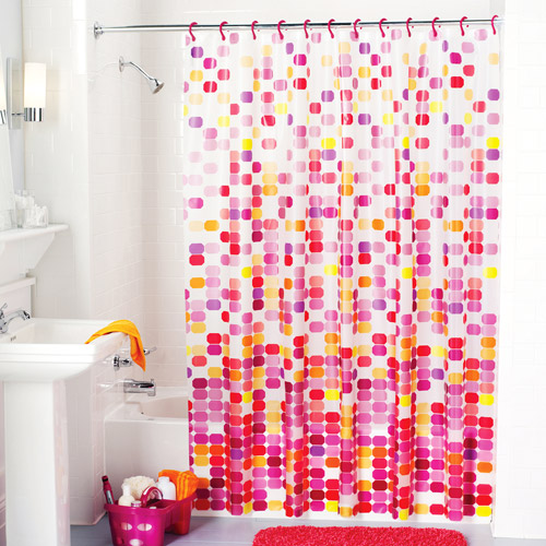 Mainstays Easy Hang Vinyl Shower Curtain with Rings, Pink Mosaic
