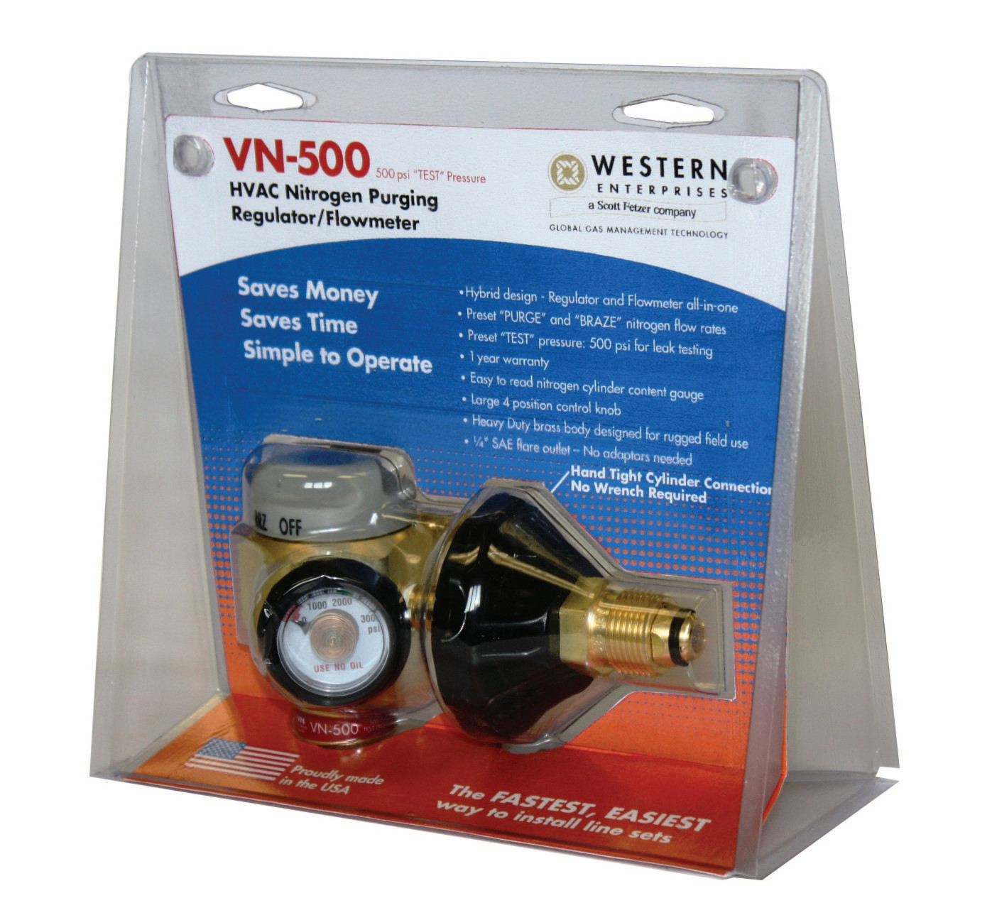 VN Series HVAC Nitrogen-Purging Regulators/Flowmeters, Nitrogen, 35 CFH, CGA-580