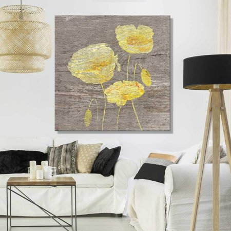 wall26 - Square Canvas Wall Art - Yellow Poppy Wood Effect Canvas - Giclee Print Gallery Wrap Modern Home Decor Ready to Hang - 24x24 - Poppies Artwork