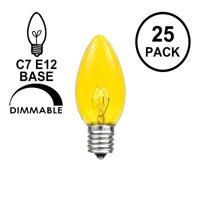 Novelty Lights 25 Pack C7 Outdoor String Light Christmas Replacement Bulbs, C7/E12 Candelabra Base, 5 Watt