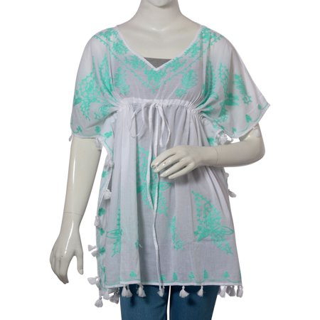 LAST CHANCE DEAL Aari Embroidery 100% Cotton V-Neck Gift Tunic Top with Tassel One Size Fits All](Top Deals)