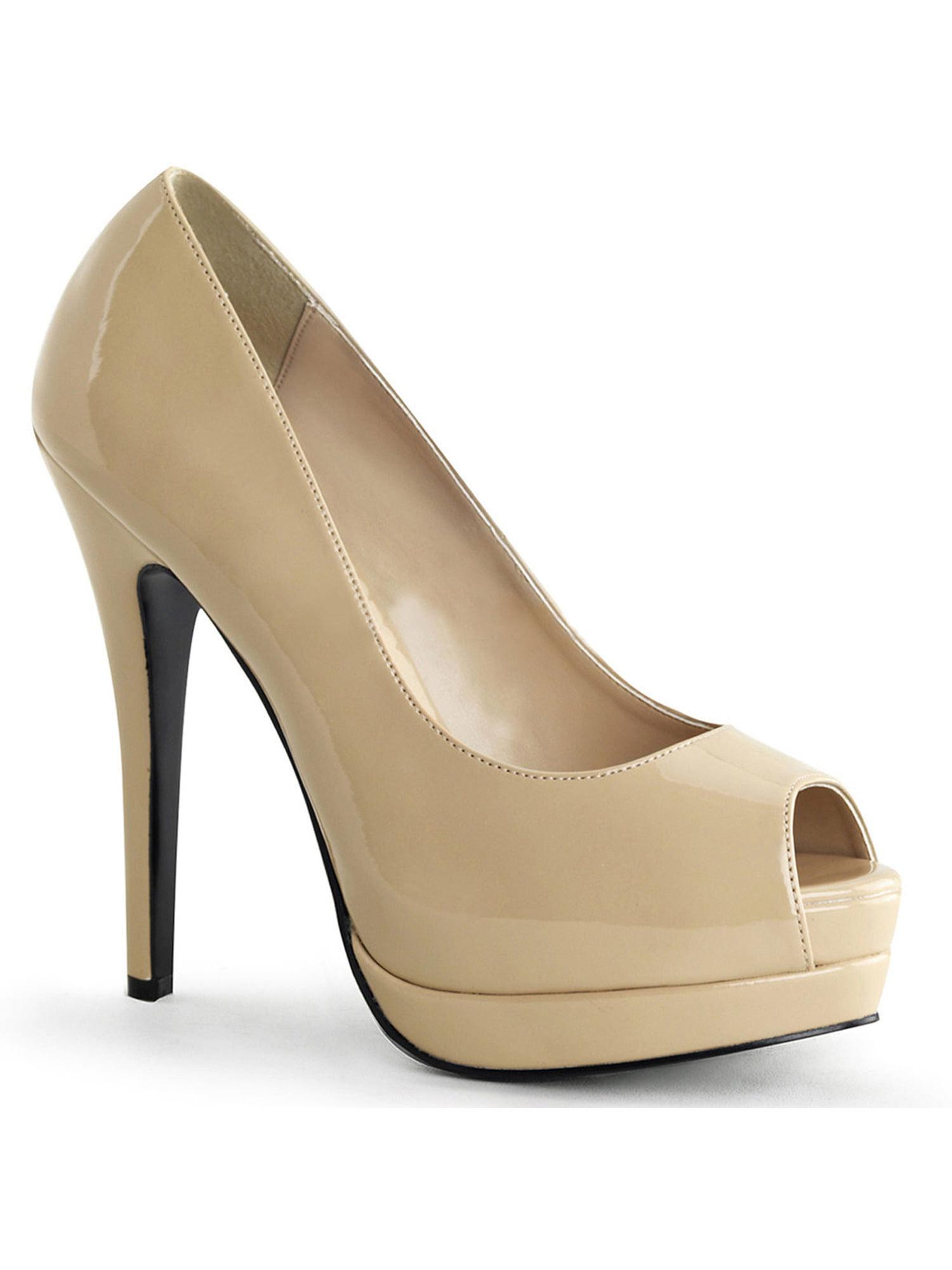 Womens Elegant Glossy Patent Nude Peep Toe Pumps 5.25'' High Heel Shoes