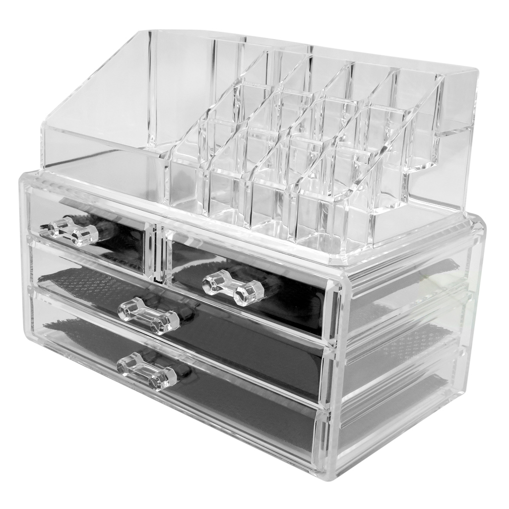 Evelots Acrylic Jewelry Cosmetic Storage Makeup OrganizerClear