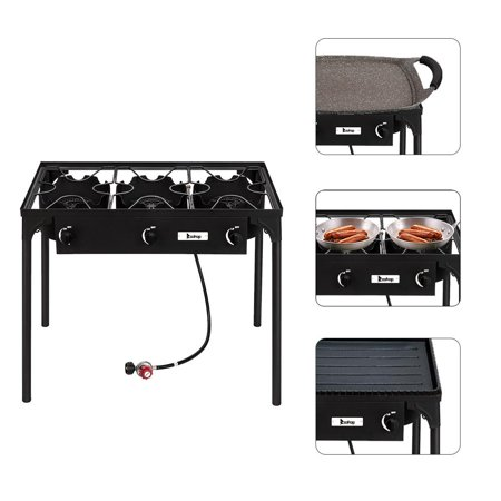 Ktaxon Burner Propane Stove Outdoor 3 Burner 225,000 BTU with 0-20 PSI High Pressure Adjustable Regulator and Steel Braided Hose