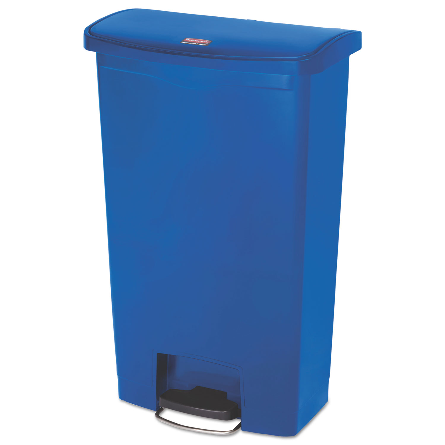 Rubbermaid Commercial Slim Jim Front Step Style 18 gal. Resin Step-On Container, Blue