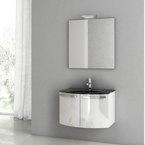 ACF by Nameeks ACF CD01-GW Crystal Dance 28-in. Single Bathroom Vanity Set - Glossy White
