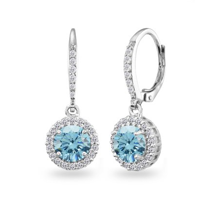 Light Blue Halo Dangle Earrings Made w/ Swarovski Crystals in 925 Silver ()