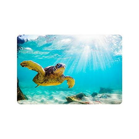 MKHERT Hawaiian Green Sea Turtle in The Sea Water Doormat Rug Home Decor Floor Mat Bath Mat 23.6x15.7 inch](Hawaiian Deco)
