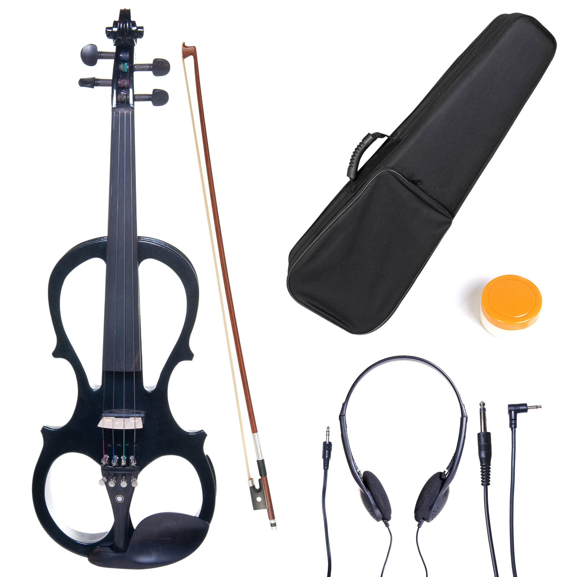 Cecilio Full Size Left-Handed Solid Wood Electric Silent Violin with Ebony Fittings L4/4CEVN-L1BK Metallic Black