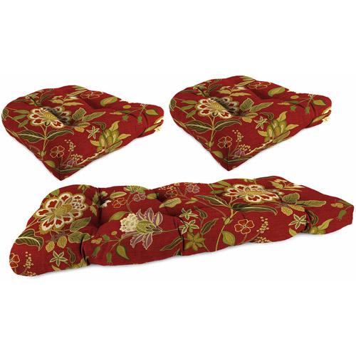 Jordan Manufacturing Outdoor Patio - Tufted 3 Piece Wicker Cushion Set
