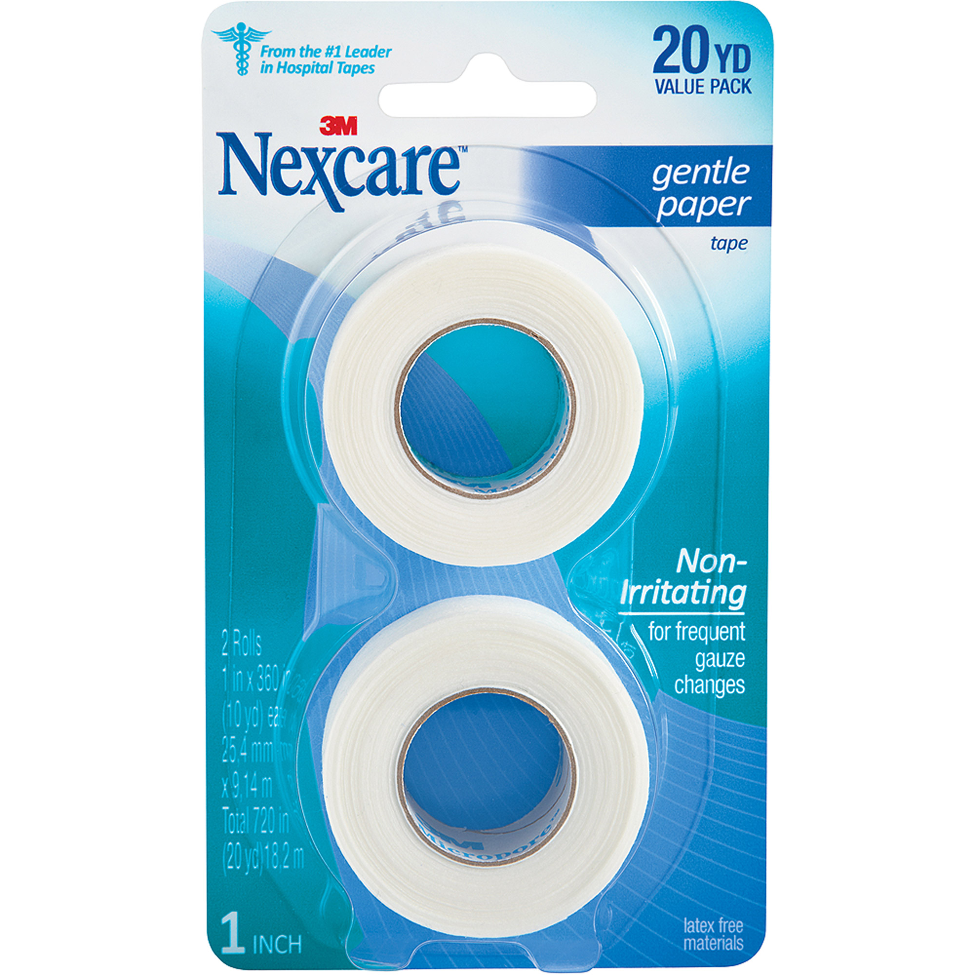 Nexcare Gentle Paper First Aid Tape, 1 in x 10 yds, 2 rolls