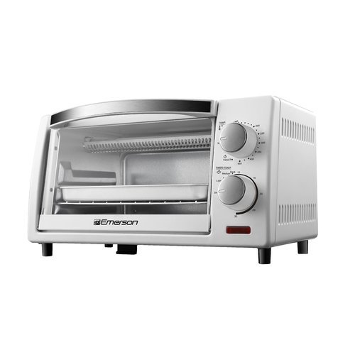 emerson 4 slice countertop toaster oven in white. Black Bedroom Furniture Sets. Home Design Ideas
