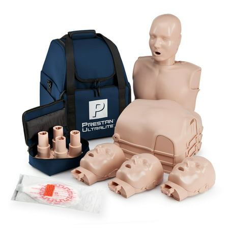Prestan Ultralight CPR  and AED Training Manikin with Medium Skin Tone Economy 4 Pack Economy Adult Sani Manikin
