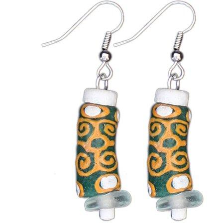 Global Crafts Handmade  Adinkra Strength Earrings In Green  Ghana