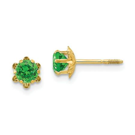 14K Yellow Gold Earring Birthstone (05) May Women'S Emerald Green 4 mm