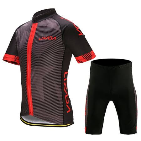 Lixada Men's Cycling Clothes Set Quick Dry Short Sleeve Bicycle Jersey Shirt Tops 3D Cushion Padded Riding Shorts Tights Pants (Dirt Bike Jersey And Pants Youth)