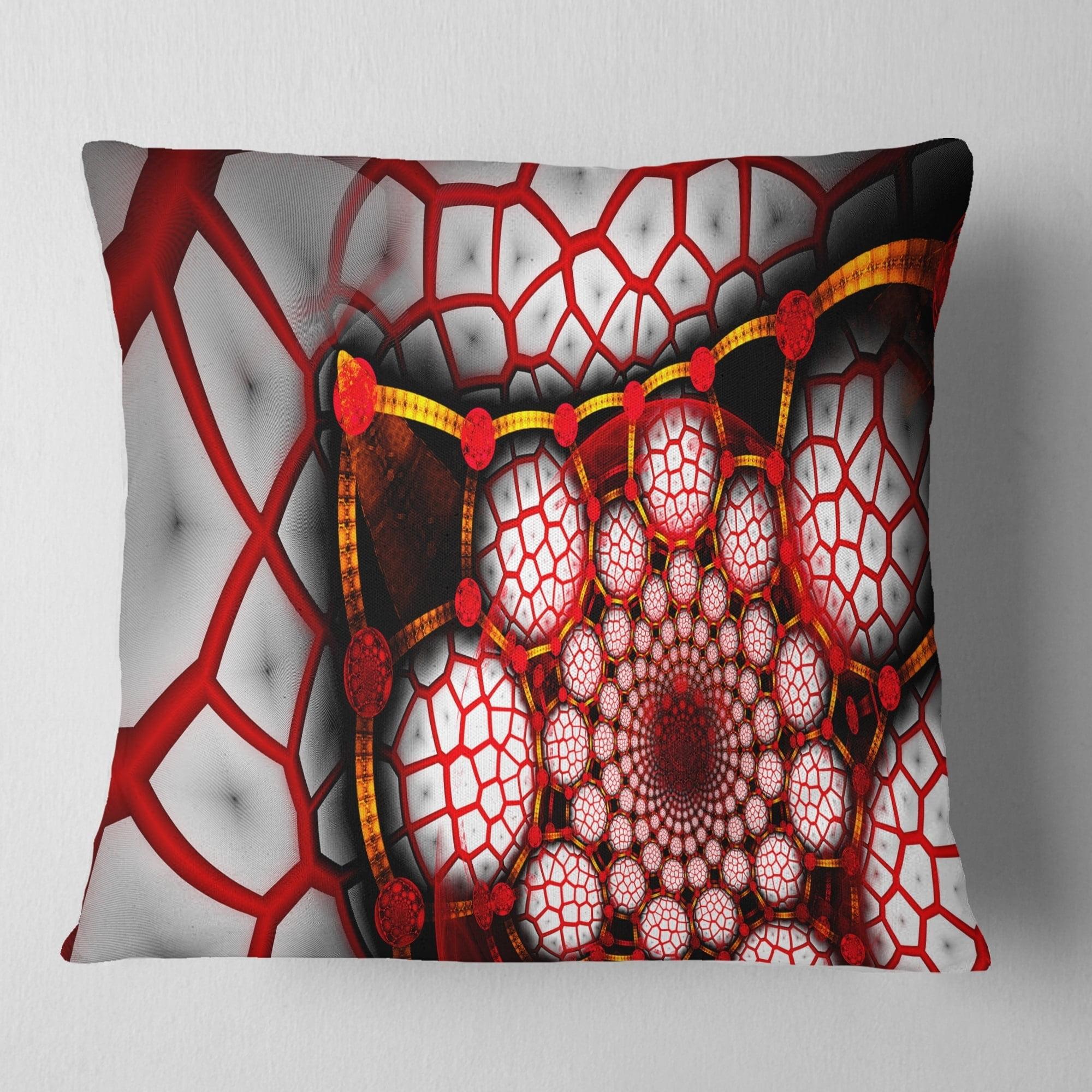 Design Art Designart Unique Light Red Fractal Design Pattern Abstract Throw Pillow Walmart Com Walmart Com