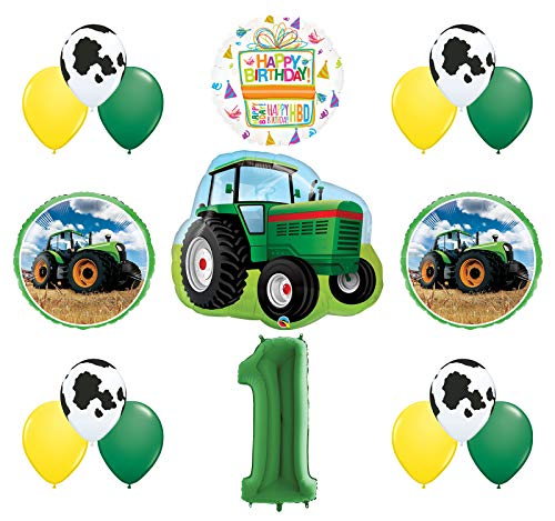 Mayflower Products 1st Birthday Farm Tractor Balloon Bouquet Decorations and Party Supplies
