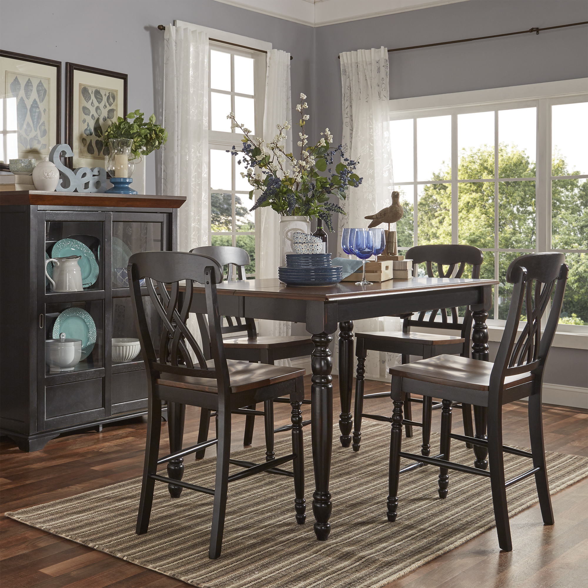 Weston Home Two Tone 5 Piece Counter Height Dining Set, Antique Black