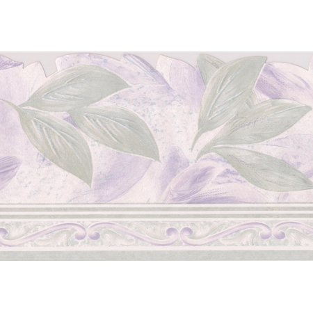 Pale Green Purple Leaf Wallpaper Border Floral Design, Roll 15' x 5.75''