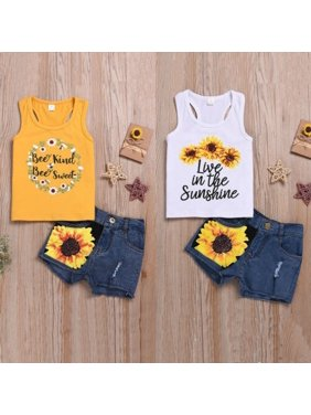 1-6 Years Toddler Kids Baby Girls Clothes Letter Print Vest Floral Tops Denim Shorts Sunsuit Outfit