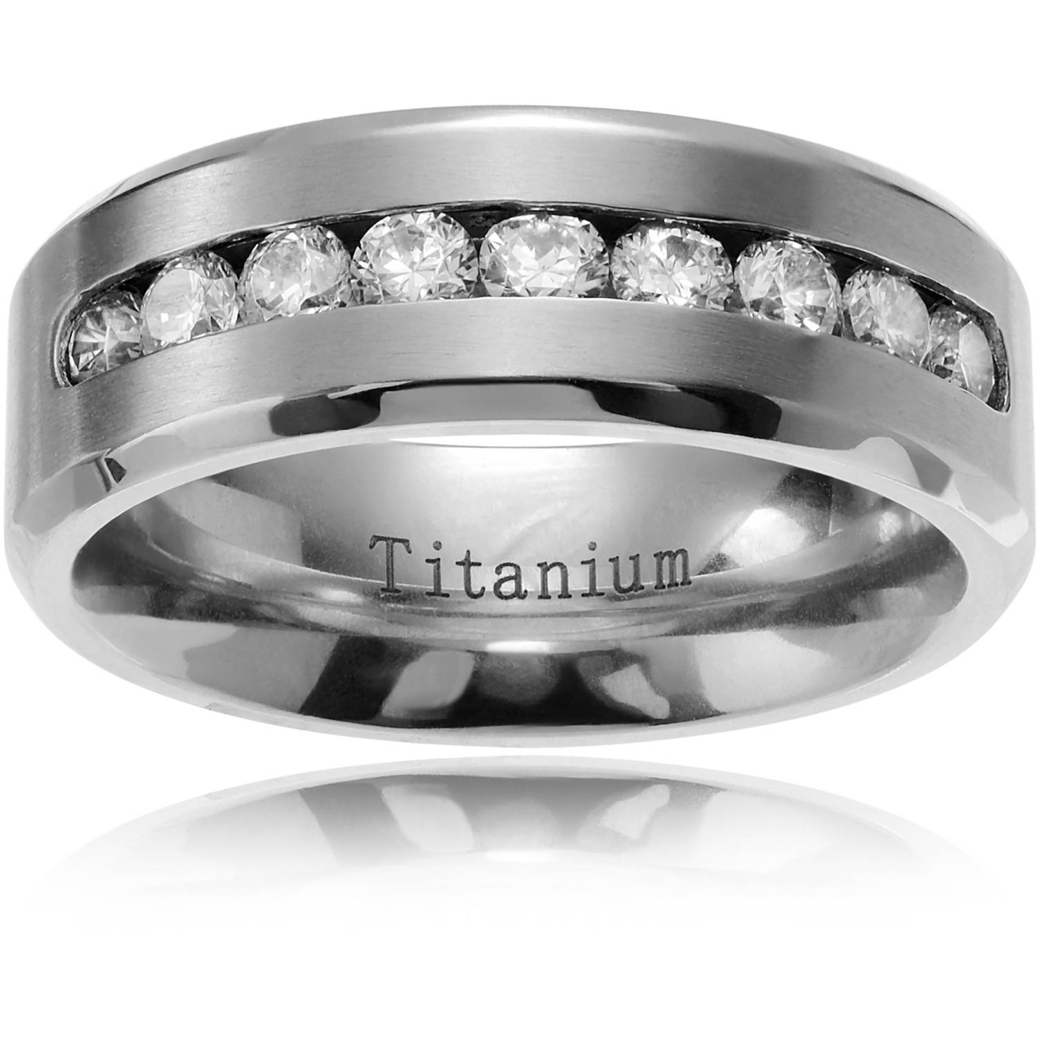 Daxx Men's CZ Titanium Brushed Wedding Ring, 8mm