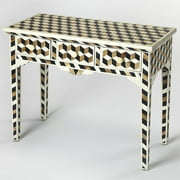 Butler Specialty Accent Console Table in Brown and Black Bone Inlay