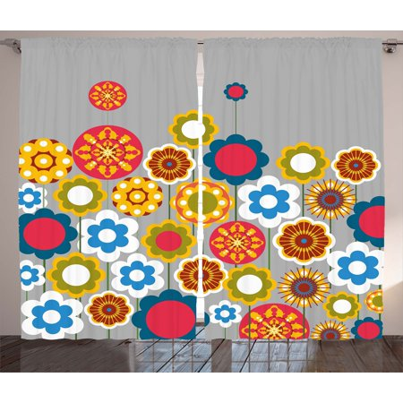 Floral Curtains 2 Panels Set, Cute Flower Heads in Circular Shapes Modern Colorful Summer Girls Graphic Print, Window Drapes for Living Room Bedroom, 108W X 63L Inches, Multicolor, by Ambesonne
