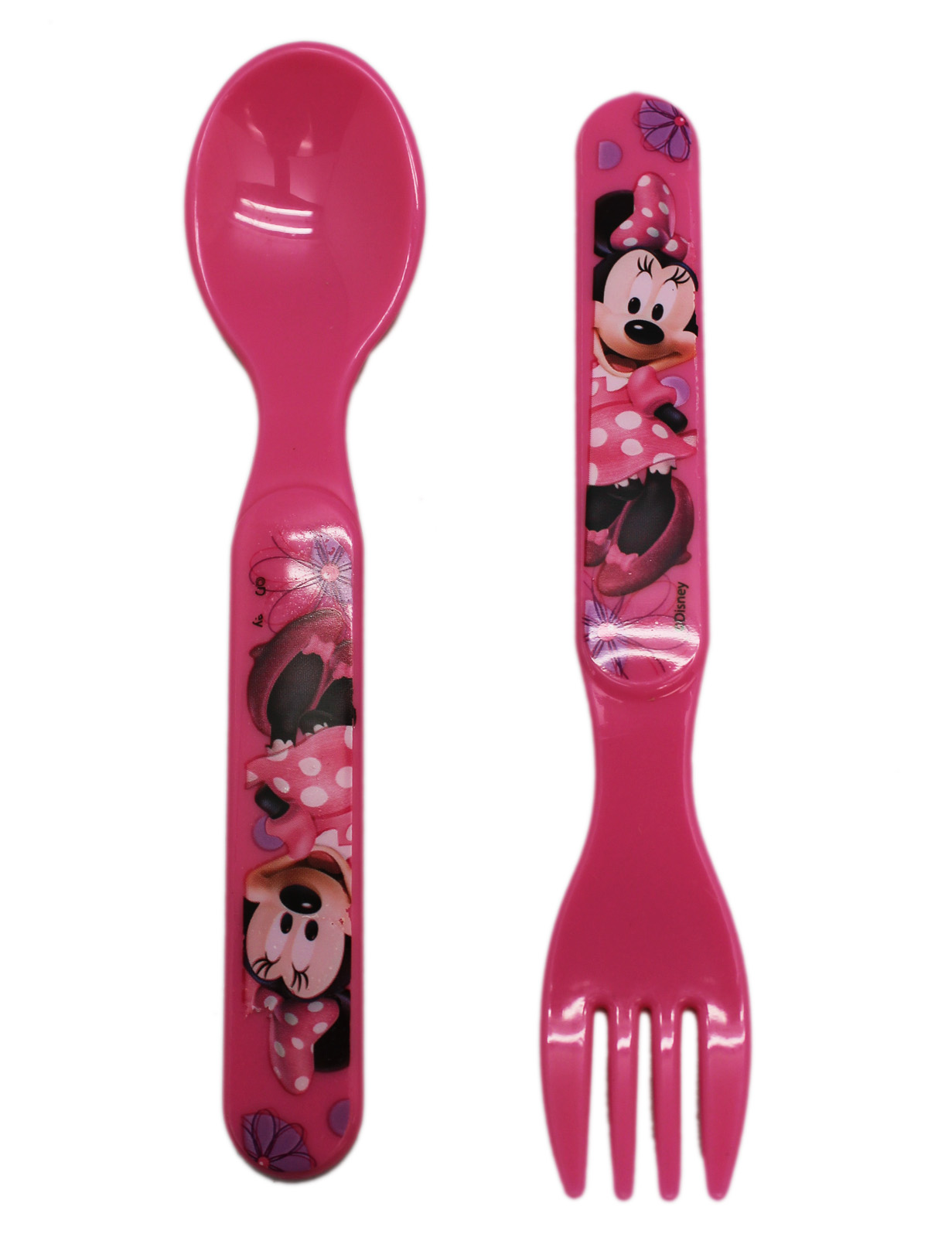 Disney's Minnie Mouse Pink Colored Kids Plastic Spoon and Fork Set by Disney